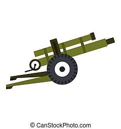 Artillery gun icon, flat style - Artillery gun icon. Flat...