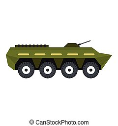 Armoured troop carrier icon, flat style - Armoured troop...
