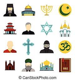Religious symbol icons set, flat style - icons set. Flat...