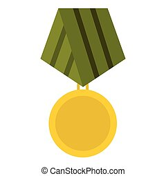 Military medal icon, flat style - Military medal icon. Flat...