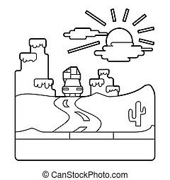 Travel by car in desert concept, outline style - Travel by...
