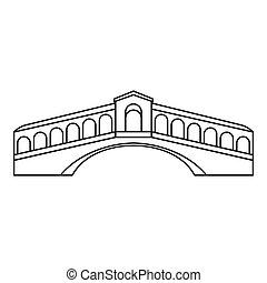 Rialto Bridge in Venice icon, outline style - icon. Outline...