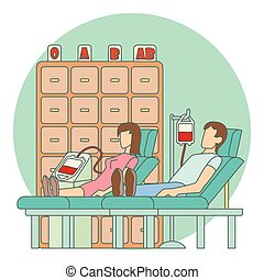 Blood transfusion in hospital concept, flat style - Blood...