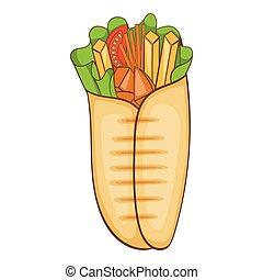 Shawarma icon, cartoon style - Shawarma icon Cartoon...