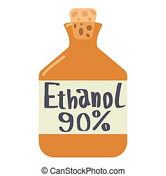 Ethanol in bottle icon, flat style - Ethanol in bottle icon....