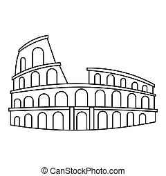 Colosseum in Rome icon, outline style - icon. Outline...