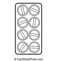 Packaging of round tablets icon, outline style