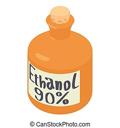 Ethanol in bottle icon, isometric 3d style - Ethanol in...
