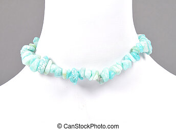 Splintered amazonite chain on bust