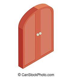 Brown double door icon, cartoon style - Brown double door...