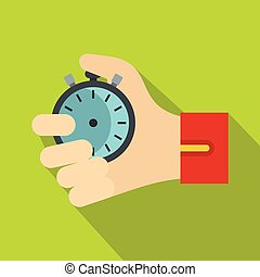Hand holding stopwatch icon, flat style - Hand holding...