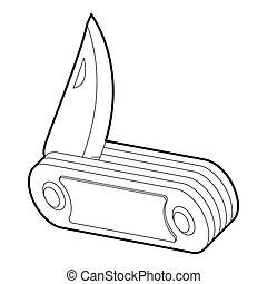 Folding knife icon, outline style - Folding knife icon....
