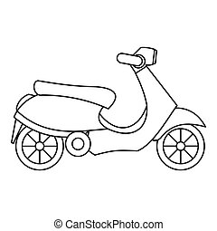 Scooter icon, outline style - icon. Outline illustration of...