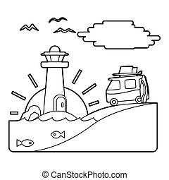 Holiday on car by sea concept, outline style - Holiday on...