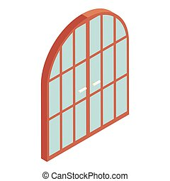 Arched double door icon, cartoon style - Arched double door...