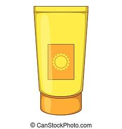 Sun lotion icon, cartoon style - Sun lotion icon. Cartoon...