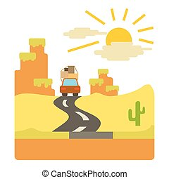 Travel by car in desert concept, flat style - Travel by car...