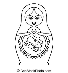 Russian nesting doll icon, outline style - icon. Outline...