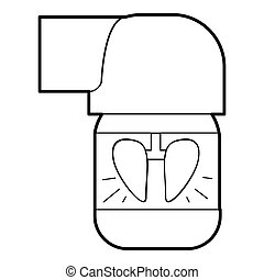 Inhaler for lung icon, outline style - Inhaler for lung...