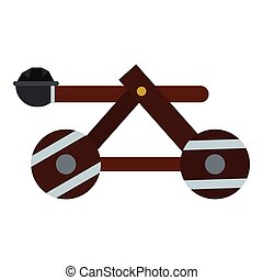 Medieval siege catapult icon, flat style - Medieval siege...