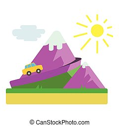 Travel by car in mountains concept, flat style - Travel by...