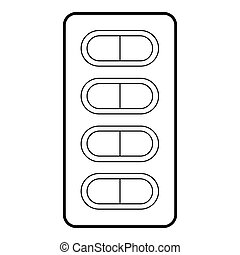 Packaging of tablets icon, outline style