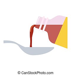 Medical syrup icon, flat style - Medical syrup icon. Flat...