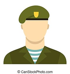 Army soldier icon, flat style - Army soldier icon. Flat...