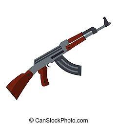 Submachine gun icon, flat style - Submachine gun icon. Flat...