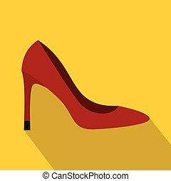 Red high heel shoe icon, flat style