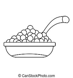 Bowl of caviar icon, outline style - icon. Outline...