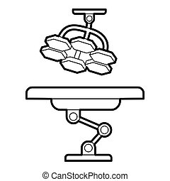 Operating table and lamp icon, outline style