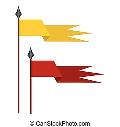 Gold and red medieval flags icon, flat style - Gold and red...