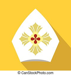 Chirstian hat icon, flat style - Christian hat icon. Flat...