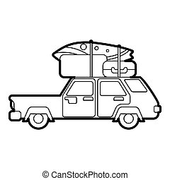 Car with luggage on roof icon, outline style