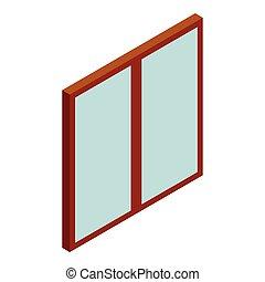 Double glass door icon, cartoon style - Double glass door...