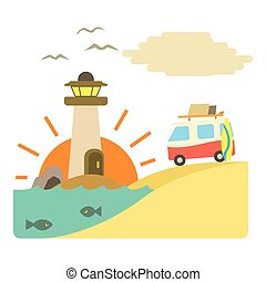 Holiday on car by sea concept, flat style - Holiday on car...