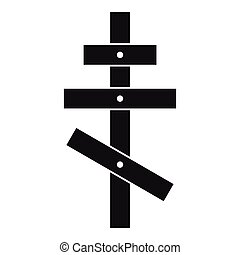 Orthodox cross icon, simple style - icon. Simple...