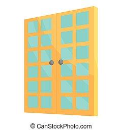Double room door icon, cartoon style - Double room door...