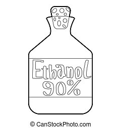 Ethanol in bottle icon, outline style - Ethanol in bottle...