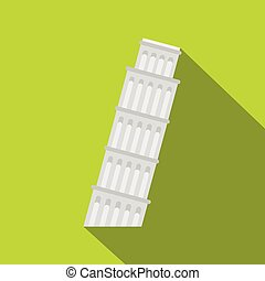 Pisa Tower icon, flat style - Pisa Tower icon. Flat...