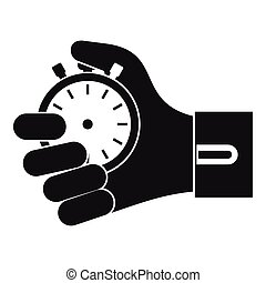 Hand holding stopwatch icon, simple style - Hand holding...