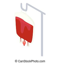 Package for blood transfusion icon. Isometric 3d...