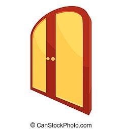 Double yellow door icon, cartoon style - Double yellow door...