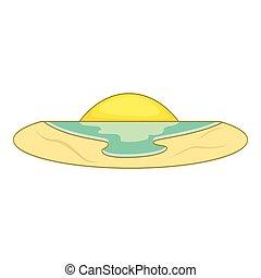 Sunset icon, flat style - Sunset icon. Flat illustration of...