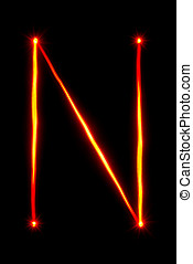 red light painting letter N on black background