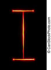 red light painting letter I - red light painting letter F on...