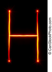 red light painting letter H - red light painting letter F on...