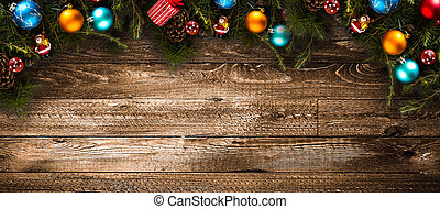 Merry Christmas Frame with real wood green pine and colorful...