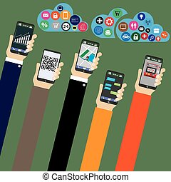 Mobile applications concept. Hand with phones